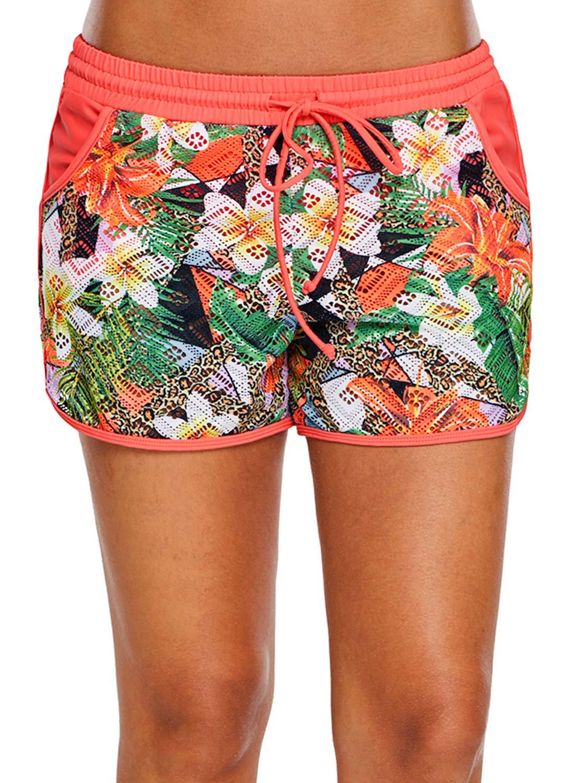 FIYOTE Women Floral Print Lace Drawstring Sport Short Swimsuit Bottoms XX-Large Size Multicolor