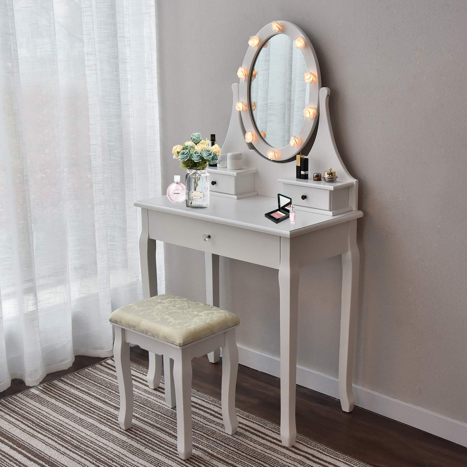 Makeup Vanity Table Set Mirror with LED Lights Dressing Table and Stool Set with Drawers Removable Top Organizer Multi-Functional Writing Desk Padded Stool Large Bedroom Vanities Tables with Benches by YOURLITEAMZ