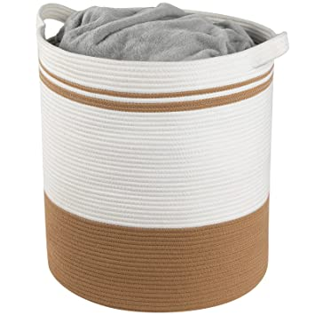 Storage Baskets Extra Large 20 x 18 Inches Decorative Woven Cotton Rope Basket Blanket Basket for Living Room Tall Laundry Basket Hamper