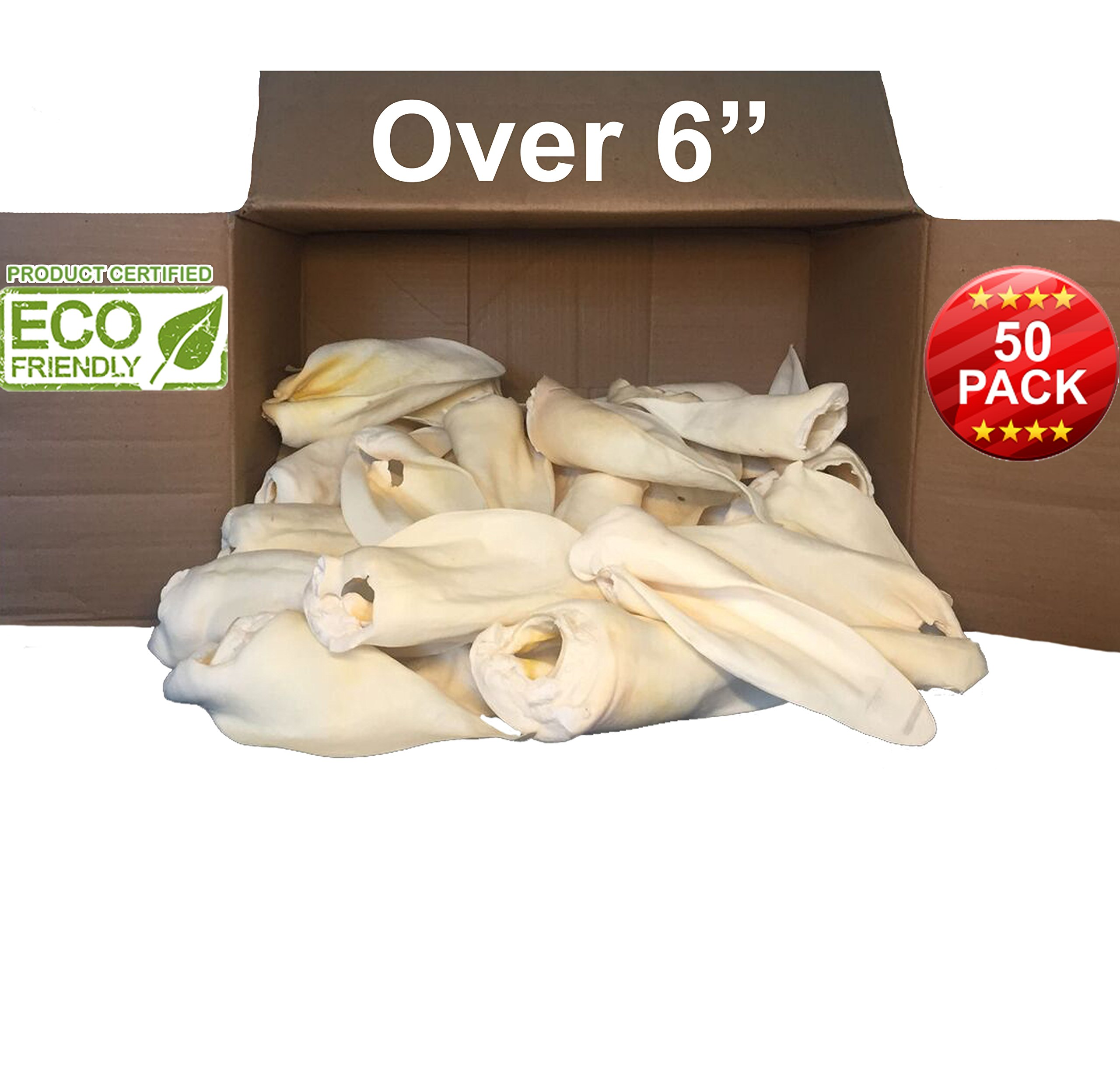 100% Natural large size - Over 6 inches- REAL Cow Ears Prime Thick-cut, 50 Pack, Dog Chews by Brazilian Pet, Free Range Grass Fed Cattle, No additives, Chemicals or Hormones