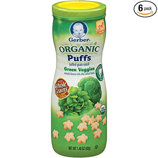 Gerber Organic Puffs Cereal Snack, Green Veggies, Naturally Flavored with Other Natural Flavors, 1.48 Ounce, 6 Count