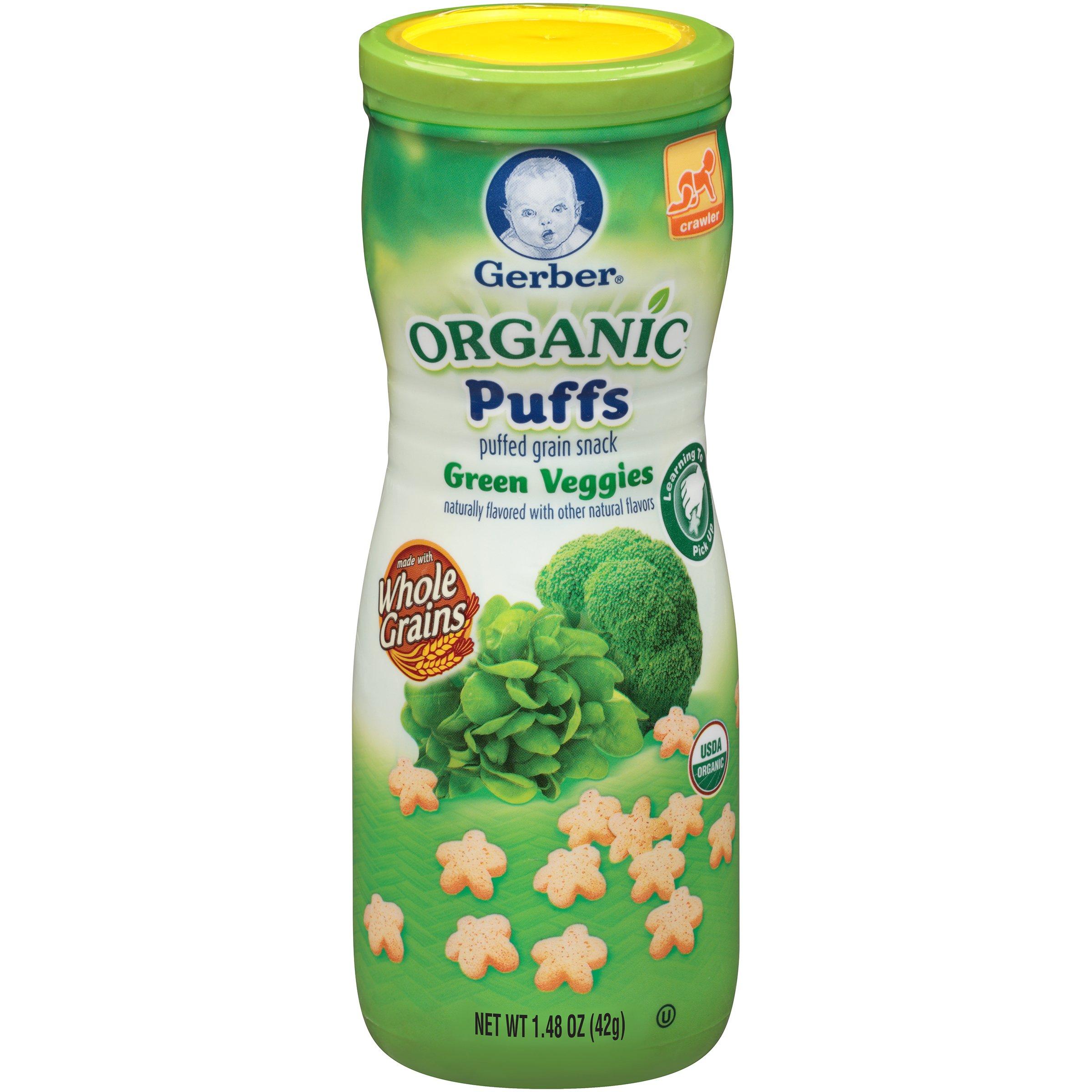 Gerber Organic Puffs, Green Veggies, 1.48 oz