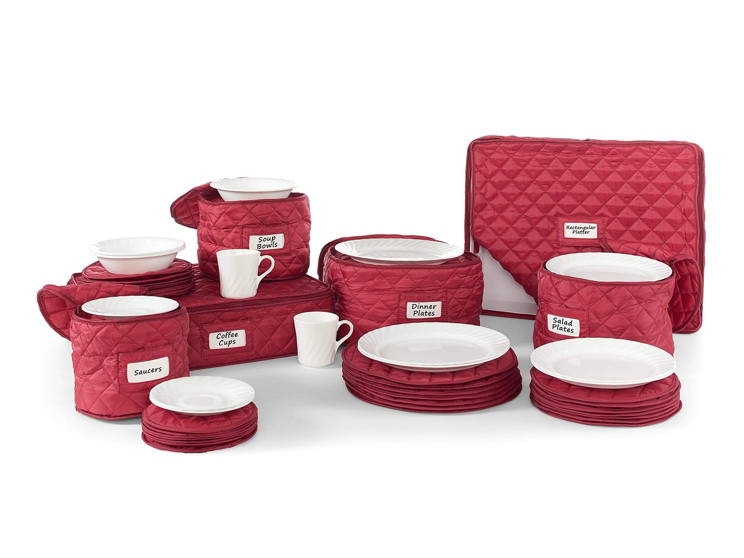 Covermates – 6 Piece Dish and Cup Storage Set 6 PIECE SET – Diamond Collection – 2 YR Warranty – Year Around Protection - Red