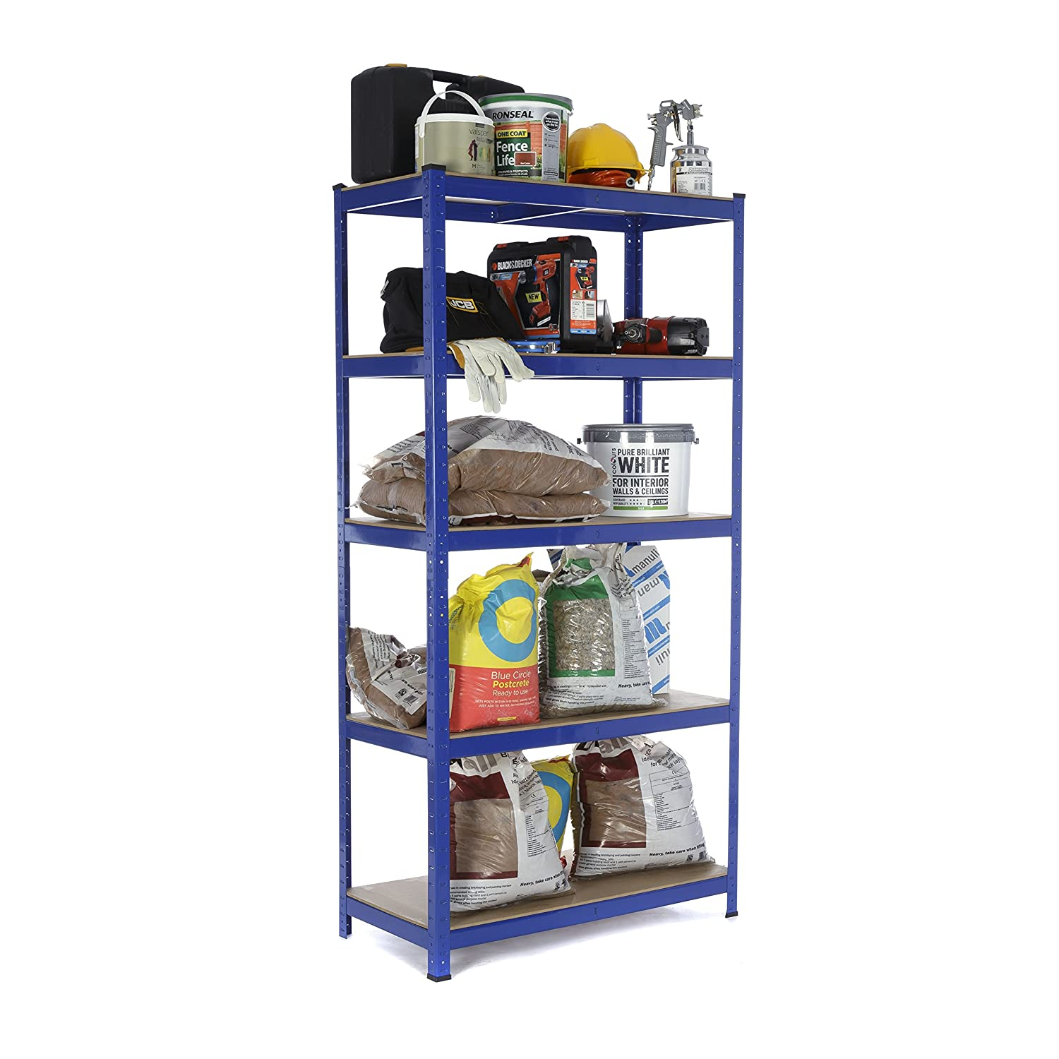 Heavy Duty Steel Shelving Garage Racking Unit 275kg per shelf (5 Levels 1800mm H x 900mm W x 450mm D) + FREE NEXT DAY DELIVERY Racking Solutions