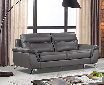 Amazon.com: Cortesi Home Chicago Genuine Leather Sofa, Grey: Home ...