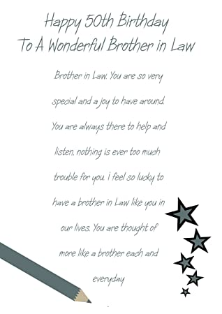 Brother In Law 50th Birthday Card