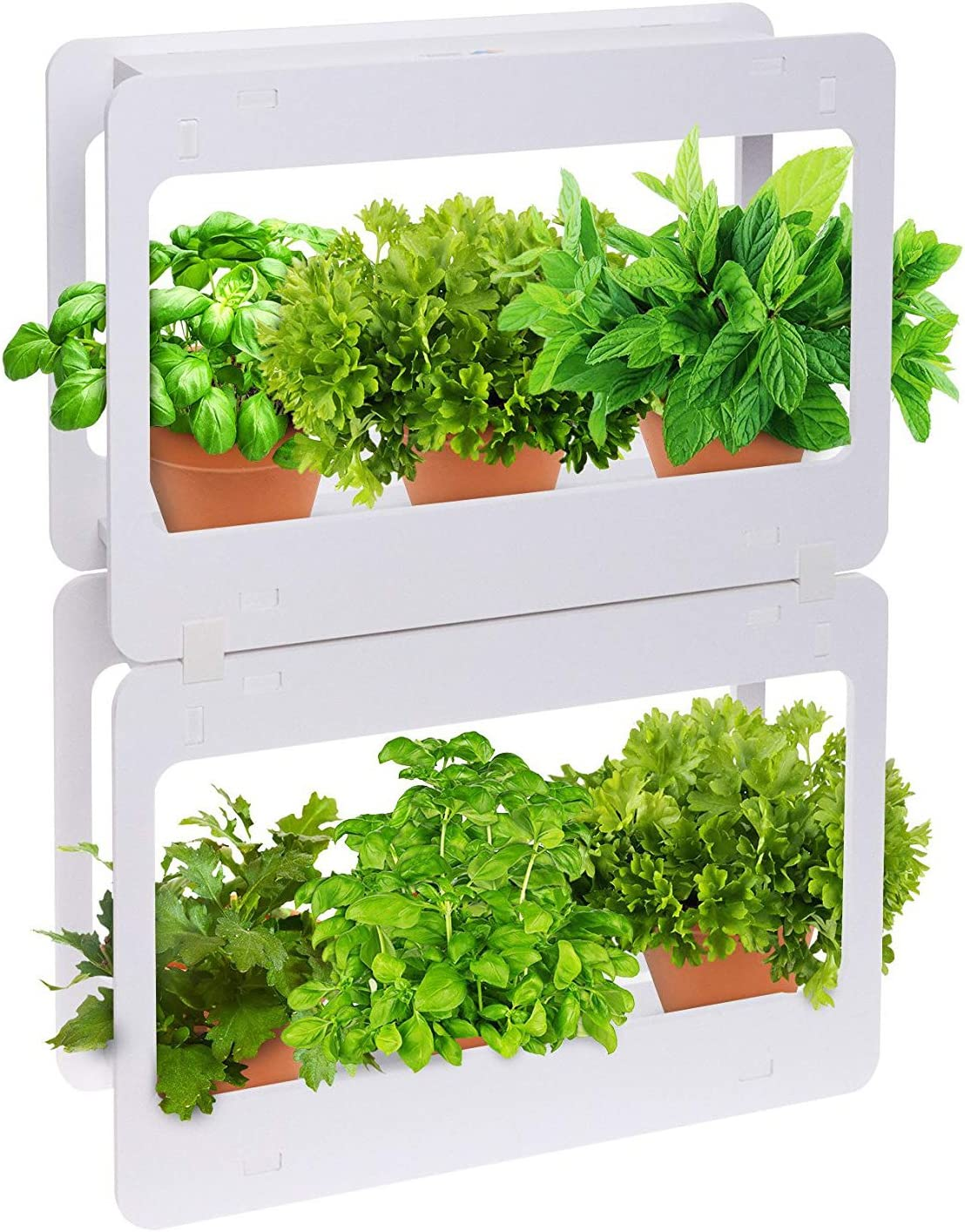 Mindful Design Stackable LED Indoor Garden Kit - Grow Herbs, Succulents & Vegetables