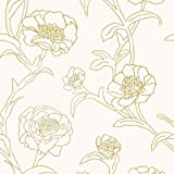 Tempaper PE10042 Gold Leaf Peonies | Designer Removable Peel and Stick Wallpaper