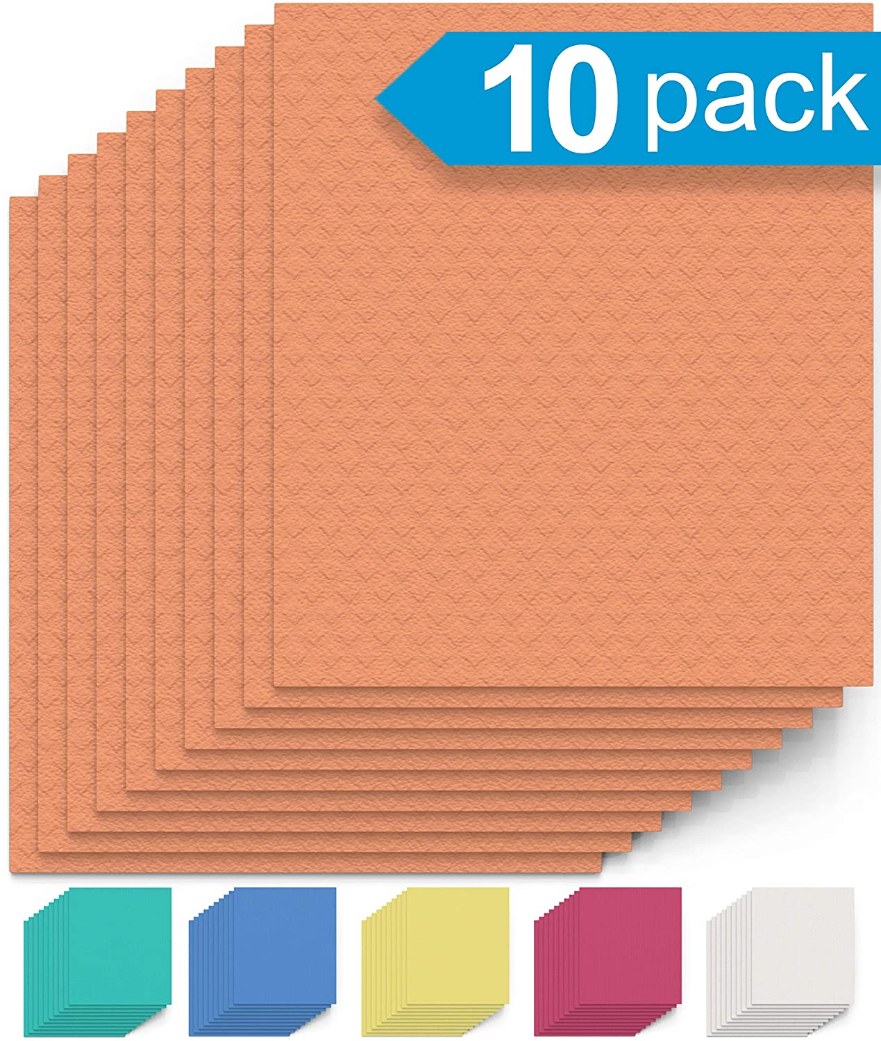 Swedish Dishcloth Cellulose Sponge Cloths - Bulk 10 Pack of Eco-Friendly No Odor Reusable Cleaning Cloths for Kitchen - Absorbent Dish Cloth Hand Towel (10 Dishcloths - Orange)
