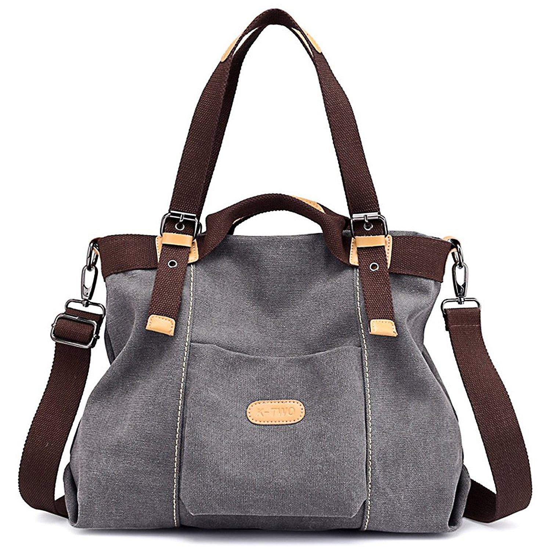 Canvas Handbag, JuguHoovi Casual Hobo Purse Tote Bag Top Handle Handbags Crossbody Bags for Women by JuguHoovi