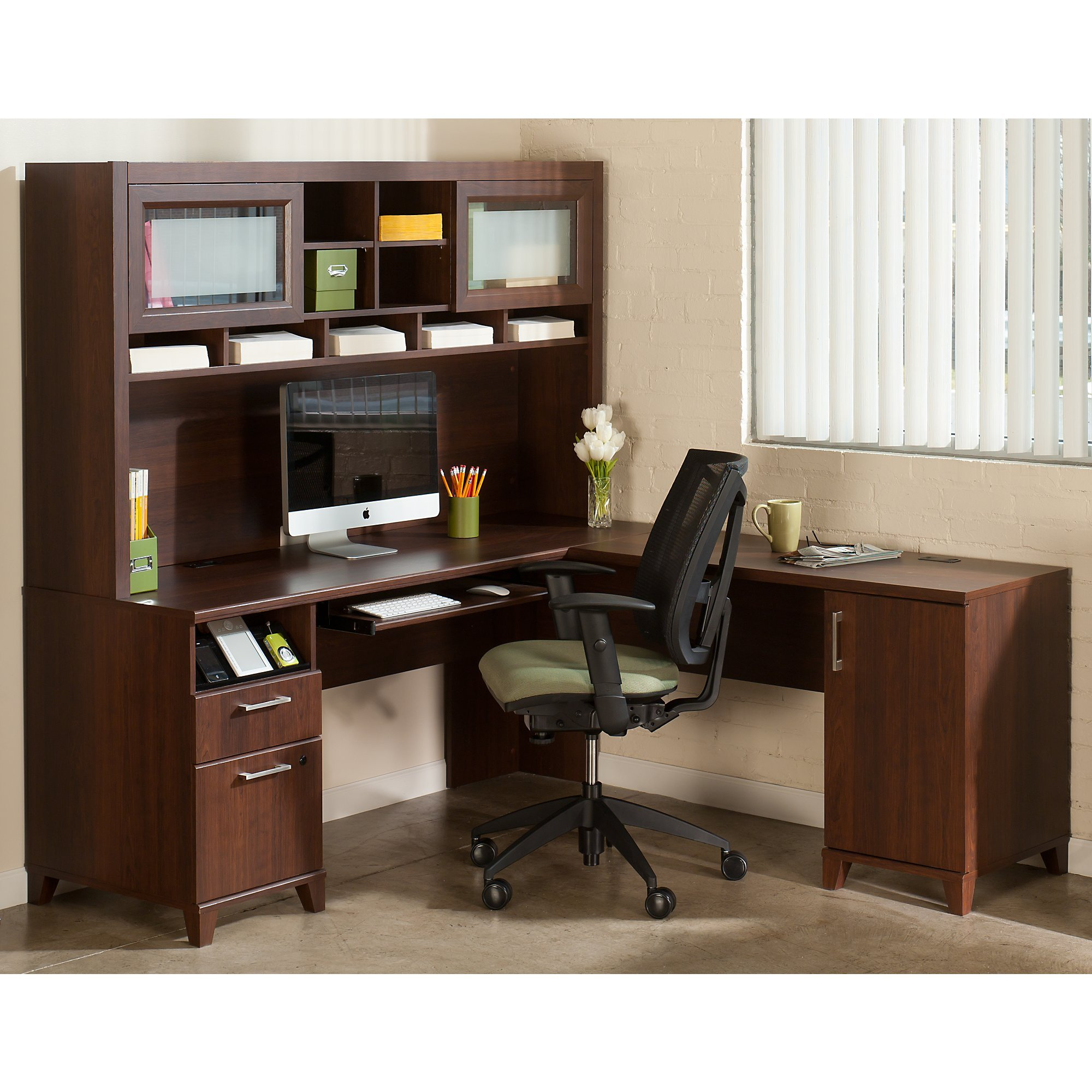 Achieve L Shaped Desk with Hutch