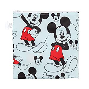Bumkins Sandwich Bag / Snack Bag, Disney Reusable, Washable, Food Safe, BPA Free, 7x7 – Mickey Mouse