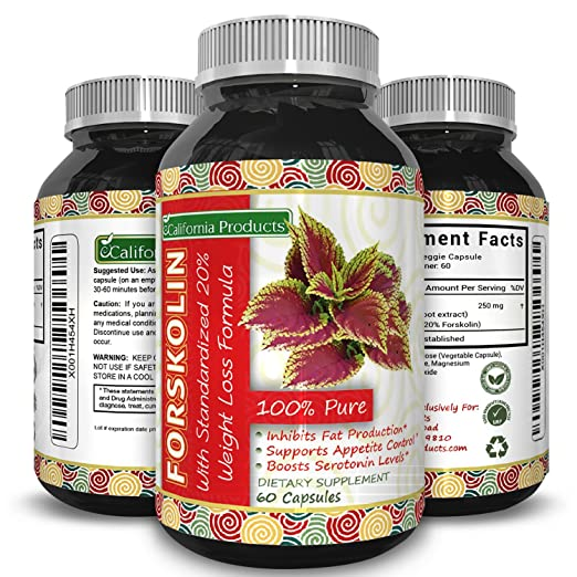 Forskolin Extract for Weight Loss - Coleus Forskolin Root Helps Burn Fat & Boost Metabolism For A Slimmer Physique -#1 Antioxidant - Suppress Appetite & Reduce Cravings For Men & Women - 60 CAPSULES