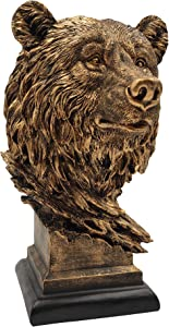 LOOYAR Resin Bear Head Statue Sculpture Ornament Collectible Figurine Craft Furnishing for Home Décor Farm House Living Room Porch Decoration Office Desk Desktop Table Wine Cabinet Arrangement Gift