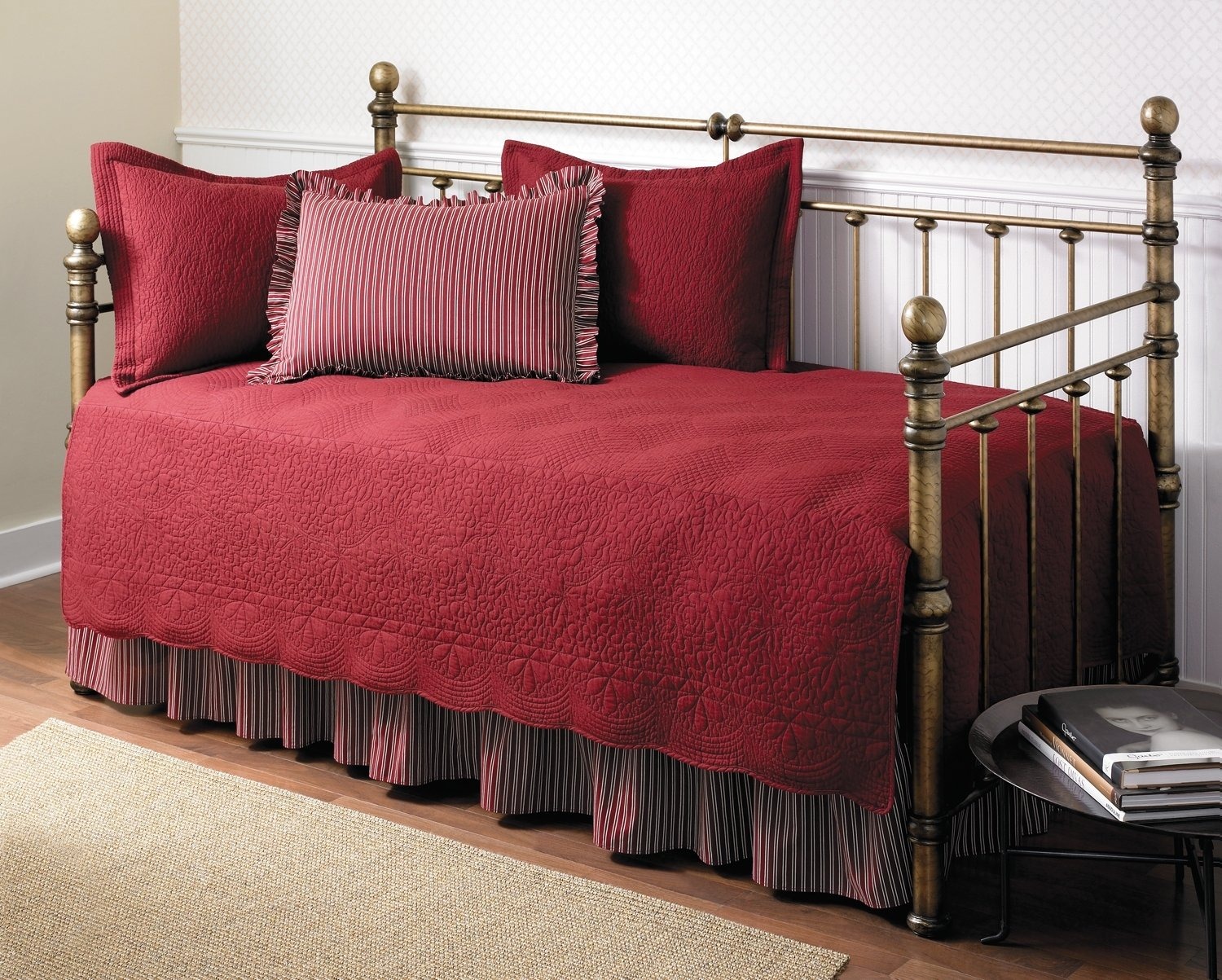 Modern daybed bedding - Stone Cottage Trellis Collection 5 Piece Daybed Set Scarlet