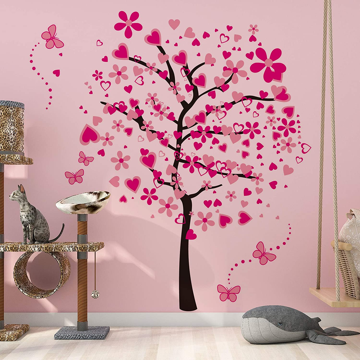 RW-1306 Removable Pink Cartoon Heart Flower Tree Wall Decals DIY Butterflies Branch Tree Wall Art Mural Wallpaper for Kids Girls Babys Bedroom Bathroom Living Room Nursery Offices Decoration