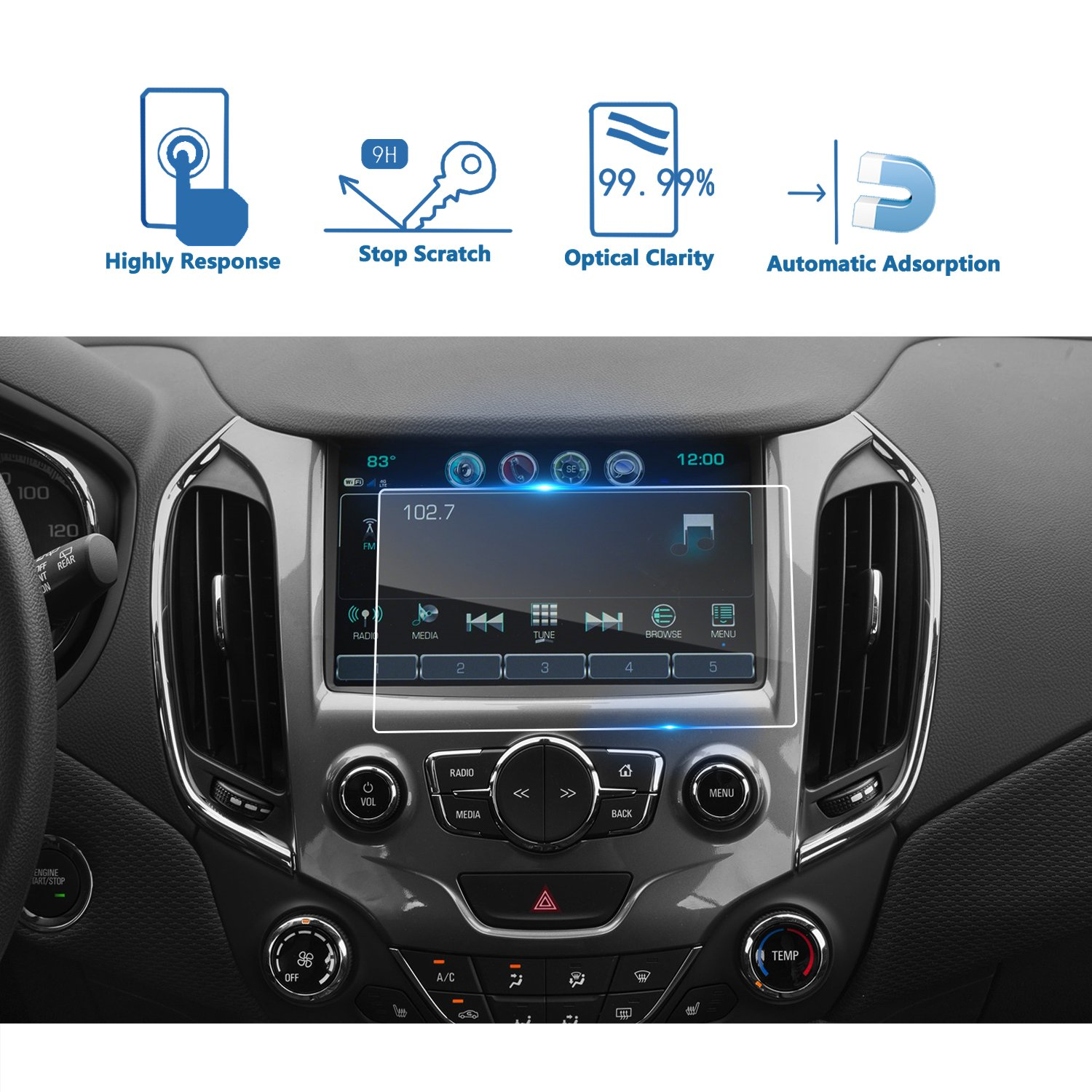 LFOTPP Chevrolet Cruze 8 Inch 2016-2018 MyLink High Configuration Car Navigation Screen Protector Clear Tempered Glass Infotainment Center Touch Display Screen Protector Anti Scratch High Clarity LiFan 2016 Chevrolet Cruze 17699
