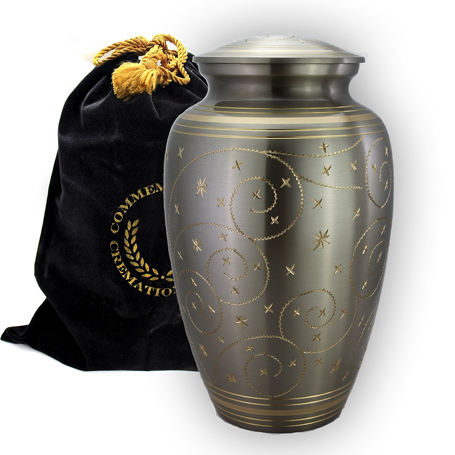 Star Light Brass Metal Funeral Cremation Urn for Human Ashes (Large)