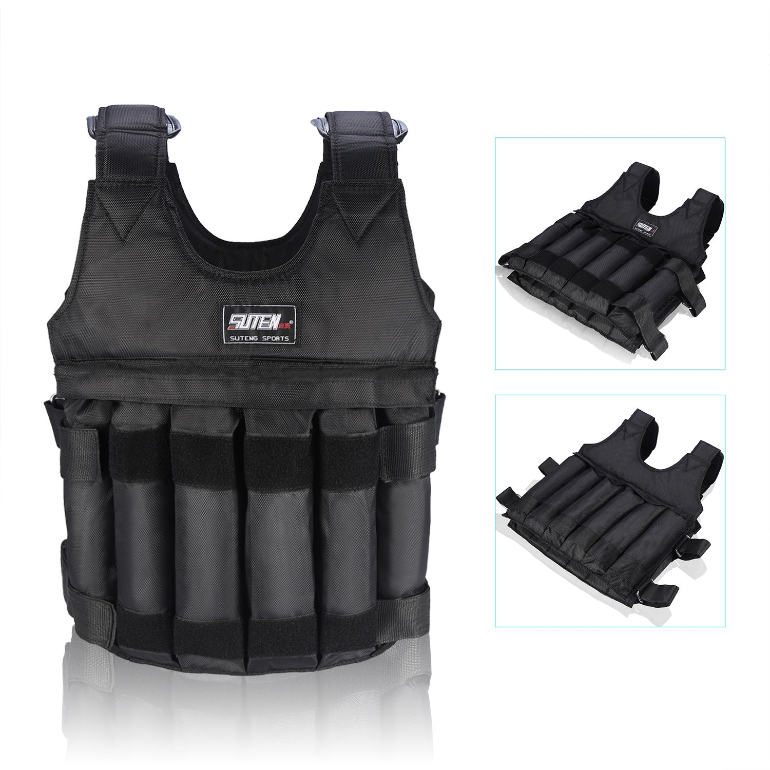 Yosoo 44LB/20KG Adjustable Weighted Vest Workout Exercise Boxing Training Fitness (Weights not Included) by Yosoo