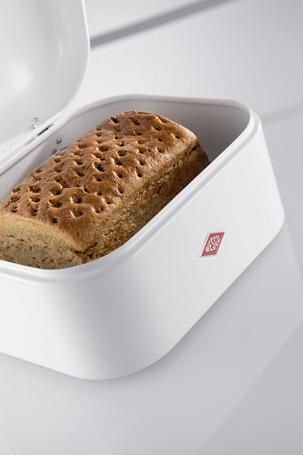 Wesco Single Grandy – German Designed - Steel bread box for kitchen / storage container, Silver Pink