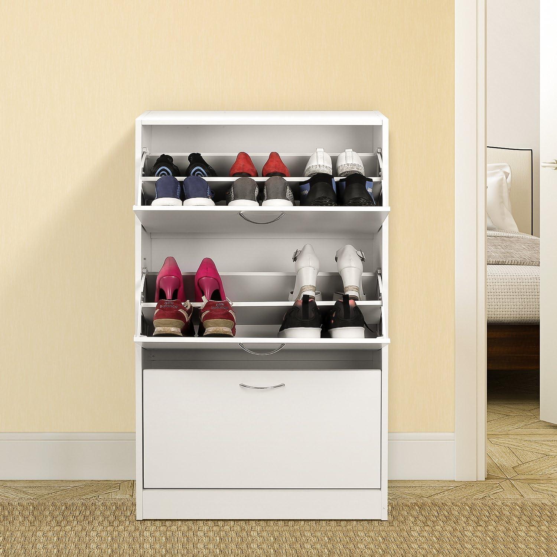 Schuhschrank mit 2 F/ächern HOMFA Schuhschrank Schuhregal Schuhkommode 2 Schuhablagen pro Schuhkipper bis zu 12 Schuhe 60x24x80cm