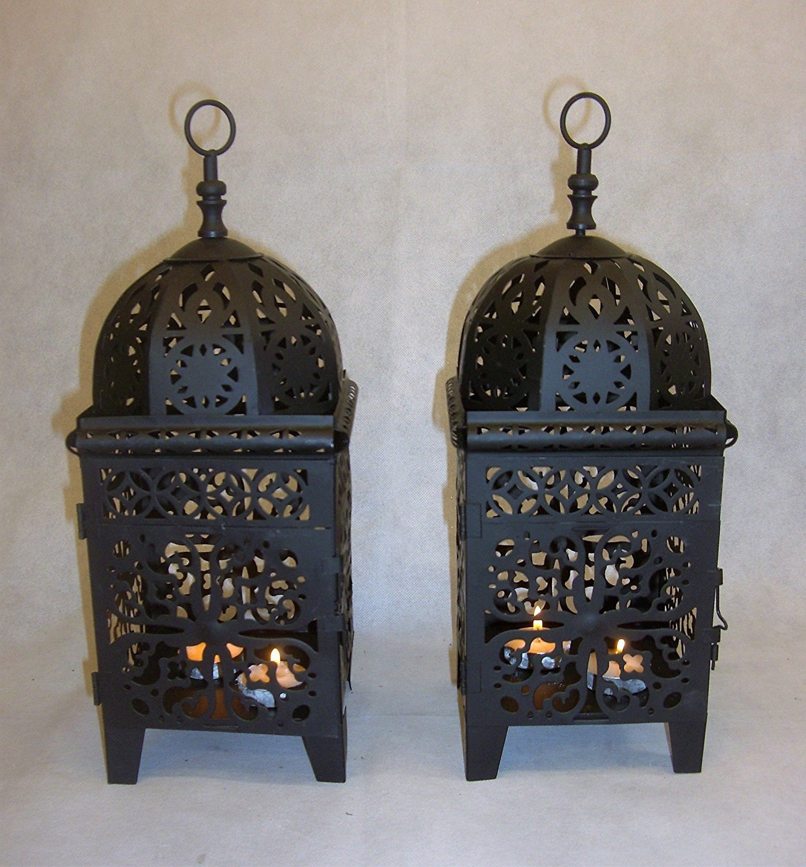 Interior Exterior Negro Diseño marroquí Set de 2farolillos de metal no cristal no rupturas Link Products