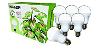 Miracle LED Almost Free Energy 150W Commercial Hydroponic Ultra Grow Lite - Daylight White Full Spectrum LED Indoor Plant Growing Light Bulb For DIY Horticulture & Indoor Gardening (604321) 6Pack