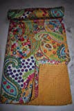 Cotton Kantha Quilt, Paisley Pattern Kantha Bed Cover, Twin Size,Reversible Handmade Kantha Throw, Floral Print
