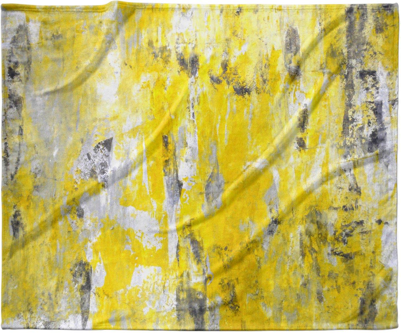 KESS InHouse CarolLynn Tice 'Picking Around' Yellow Fleece Baby Blanket, 40' x 30'