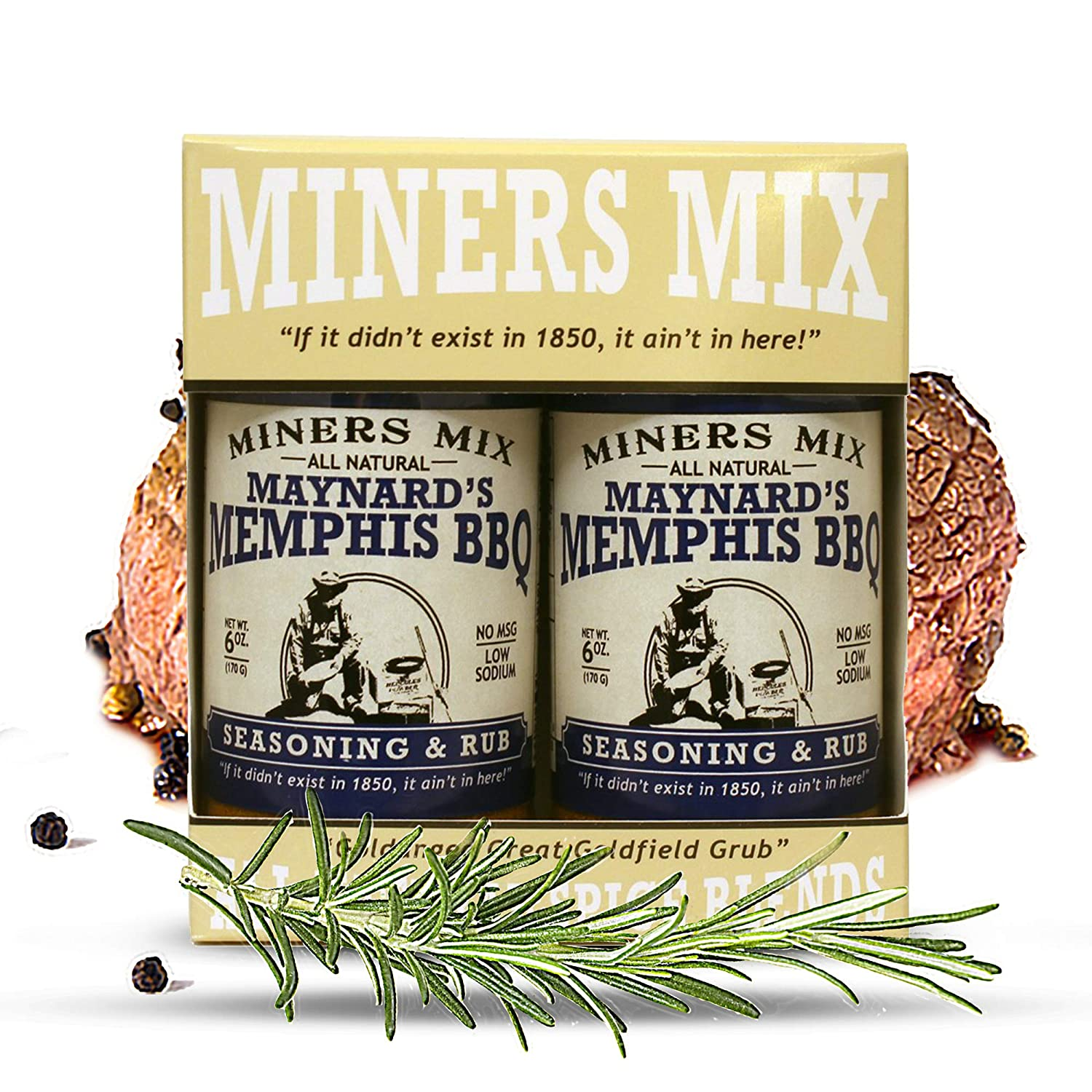Miners Mix Maynard's Memphis Championship BBQ DRY Rub 2 Pack: Seconds Please! Big Bold Flavor for Low N Slow Smoking Ribs, Butts, Pulled Pork, Brisket, or Beef. No MSG, Low Salt, All Natural.