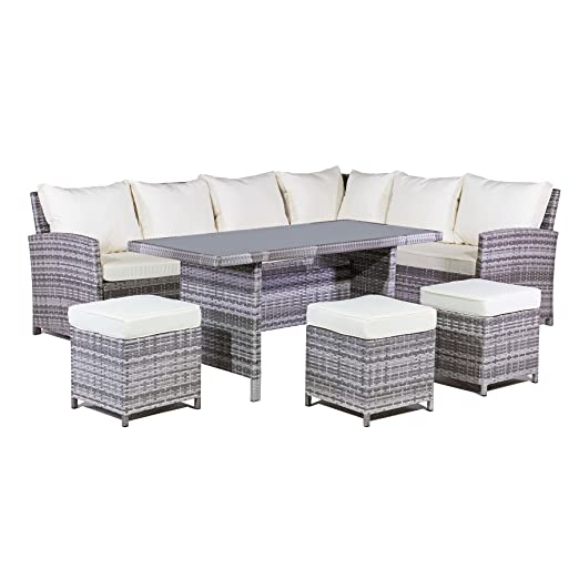 mmt rattan garden furniture l shaped dining corner set cream cushions for 2017 models amazoncouk garden outdoors