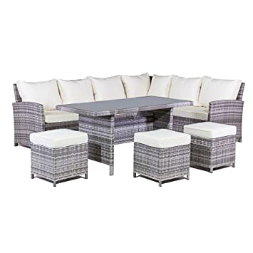 mmt rattan garden furniture l shaped dining corner set cream cushions for 2017 models