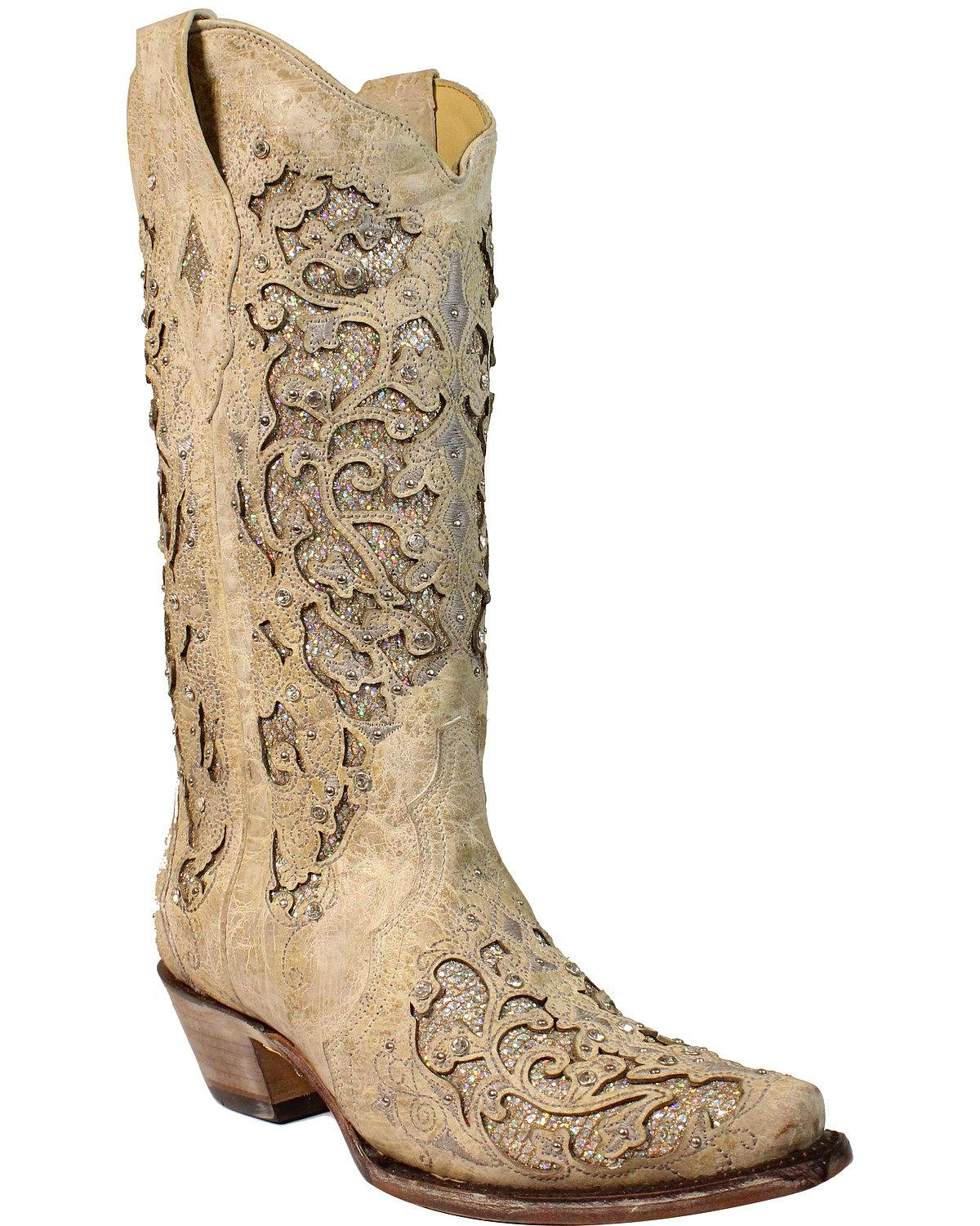 Corral Women's Glitter Inlay and Crystals Wedding Boot Snip Toe White 10.5 M