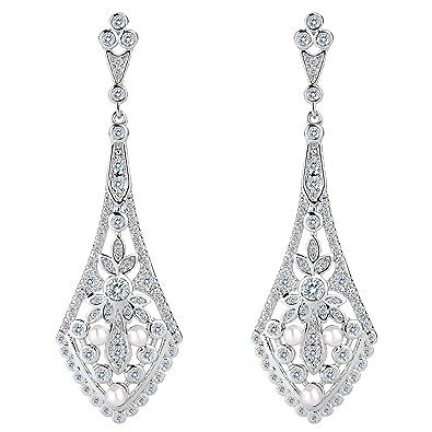 TENYE Women's CZ Cream Simulated Pearl Luxury Art Deco Dangle Chandelier Flower Earrings Clear Silver-Tone 1CImr