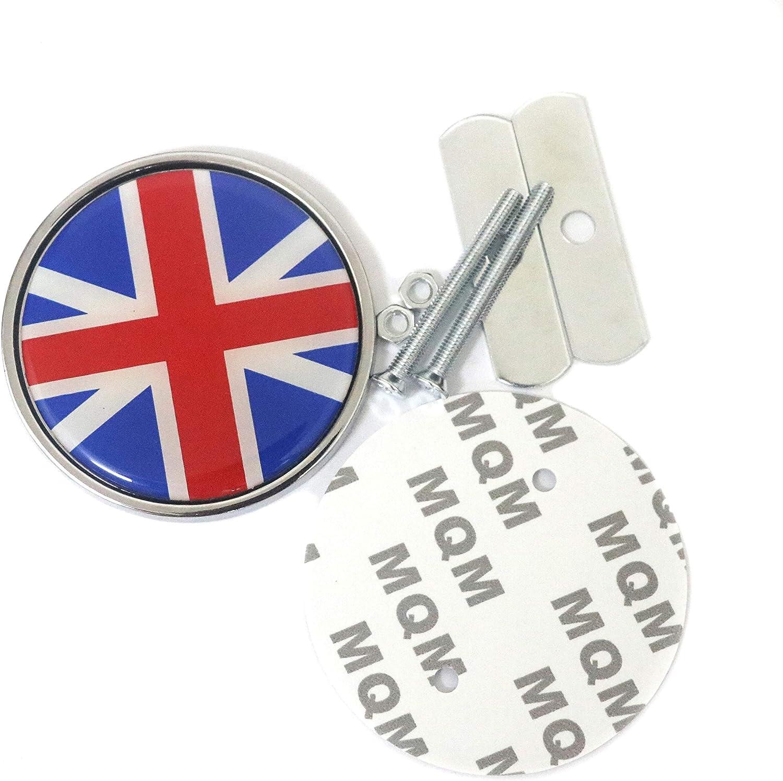 England GB Flagge Auto Fahrzeug Emblem 7,7 cm 3Runde Metall Abzeichen f/ür Auto Mini Frontgrill mit Anwendung Installation Kits Graphic Decals