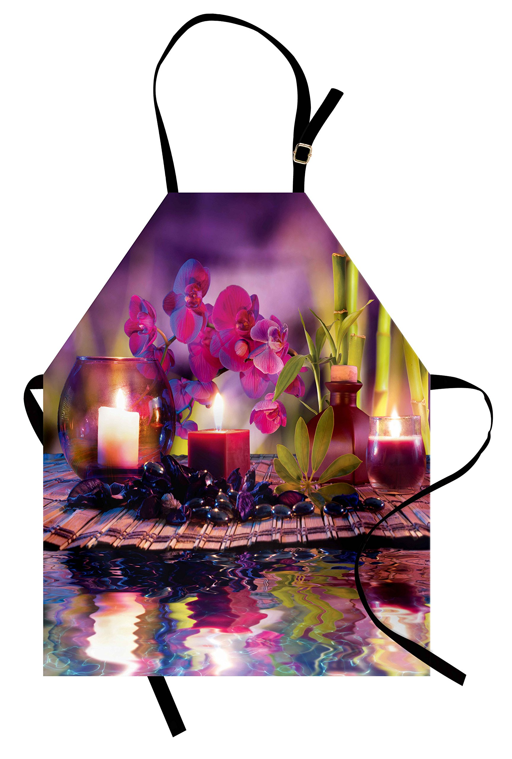 Lunarable Spa Apron, Violet Composition Candles Oil Orchids Bamboo on Water Natural Leaves, Unisex Kitchen Bib Apron with Adjustable Neck for Cooking Baking Gardening, Violet Fuchsia Lime Green