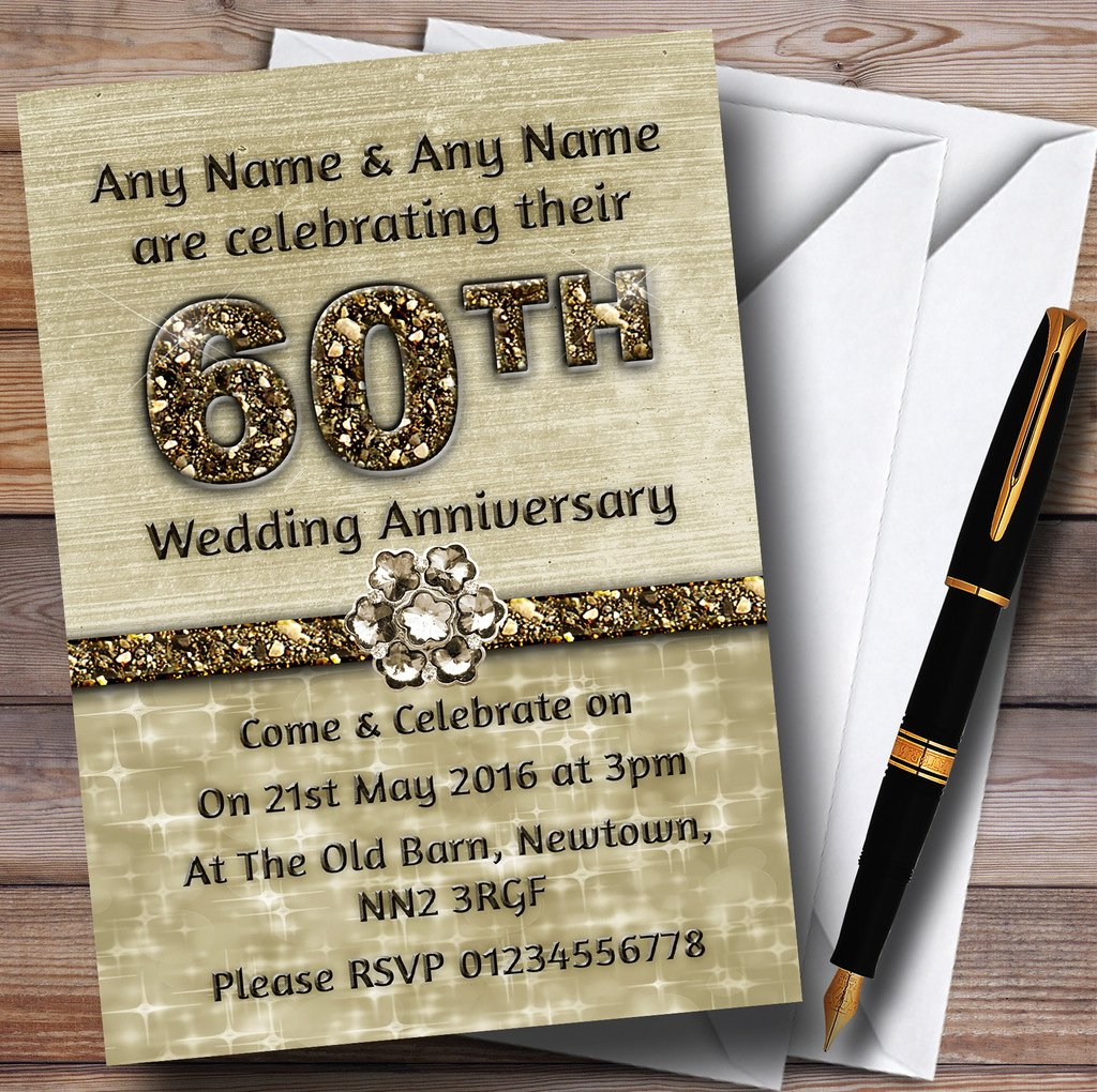 Titanium Gold Sparkly 60Th Personalized Anniversary Party Invitations