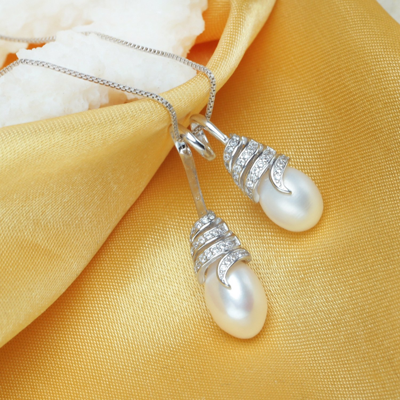 CS-DB Pendants White Pearl Vintage Silver Necklaces