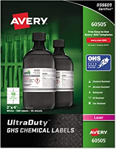 """Avery UltraDuty GHS Chemical Labels for Laser Printers, Waterproof, UV Resistant, 2"""" x 4"""", 500 Pack (60505), White"""