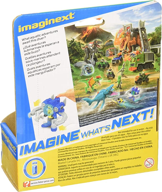 Jurassic World Imaginext Attrapeur de Dino Subaquatique Mini Figurine et V/éhicule