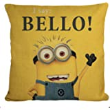 STITCHNEST Jute Minion Print Bello Cushion Cover (12x12-inch, Yellow and Blue)