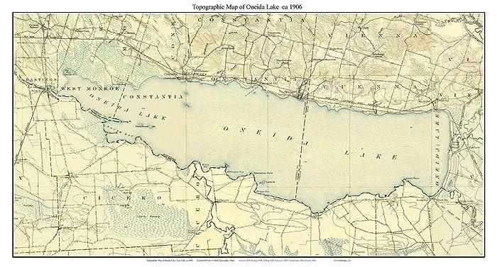 Amazon.com: Oneida Lake - ca. 1906 USGS Old Topographical Map Custom ...