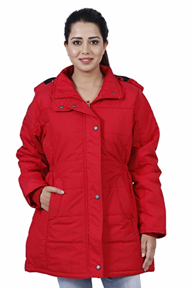 Hiver Women's Nylon Red Full-Sleeved Winter Jacket with Hood ...
