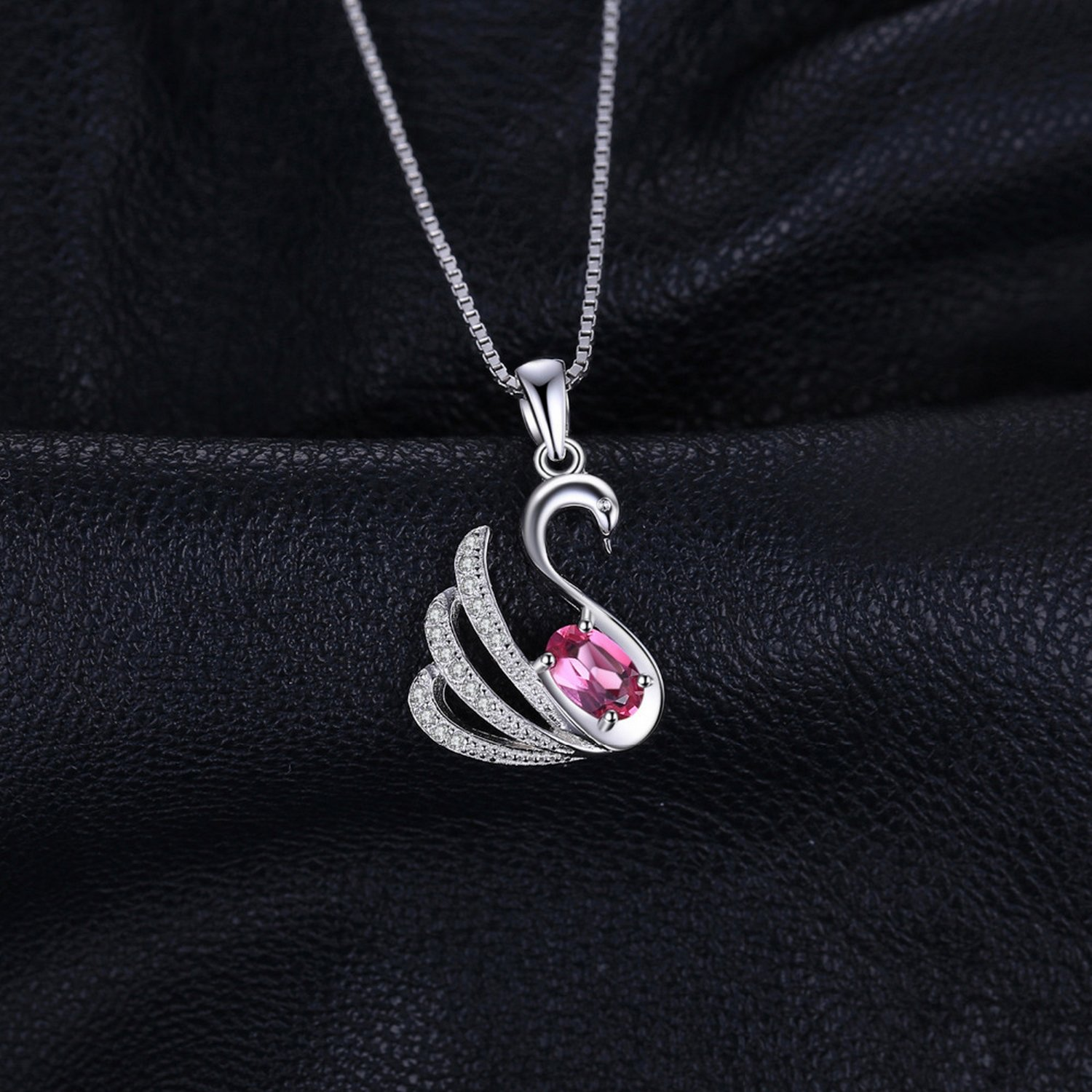 CS-DB Pendants Exquisite 0.5ct Pink Topaz Swan Gift Silver Necklaces