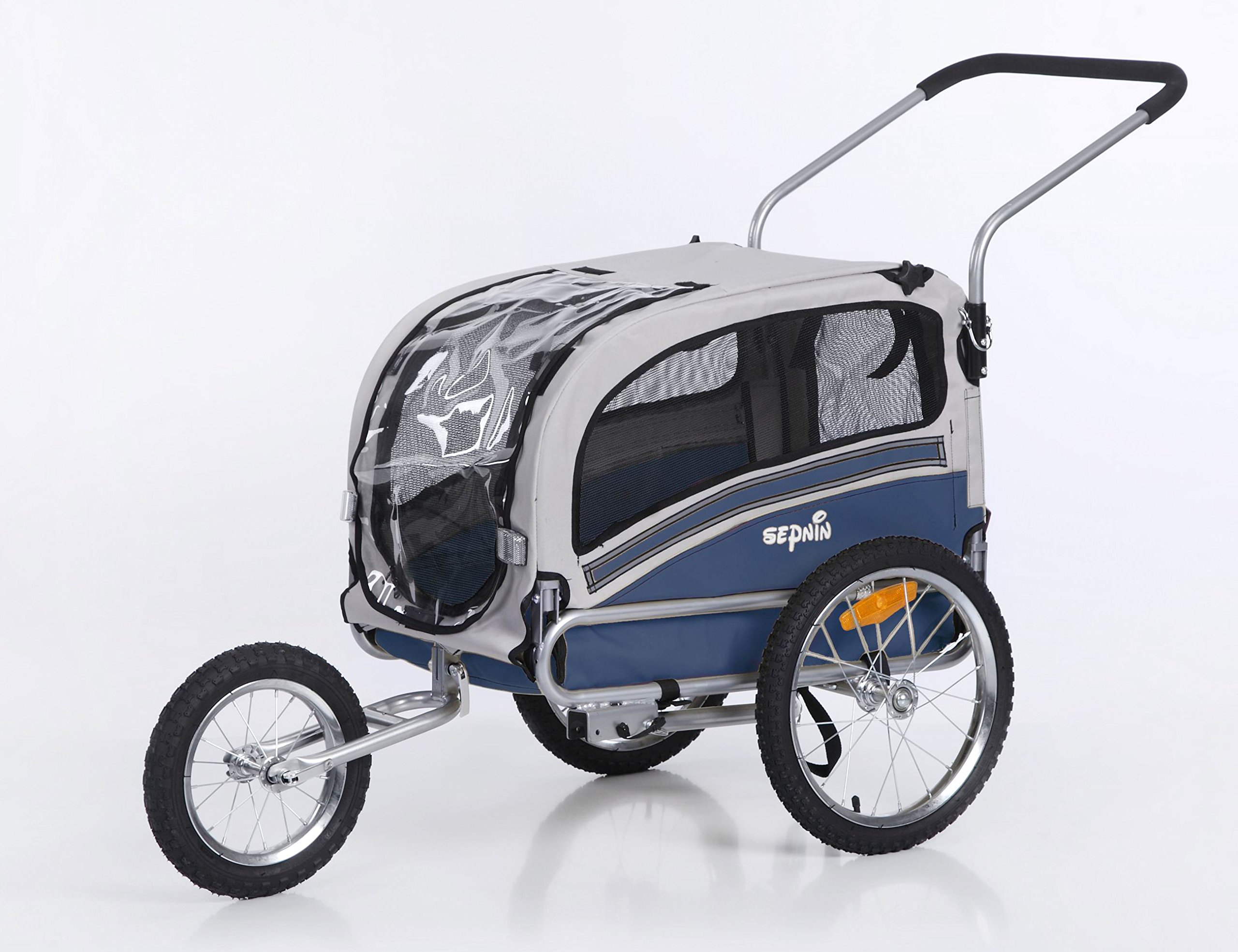 Sepnine 2 in1 pet dog bike trailer bicycle trailer and stroller jogger 20303 (blue/grey)