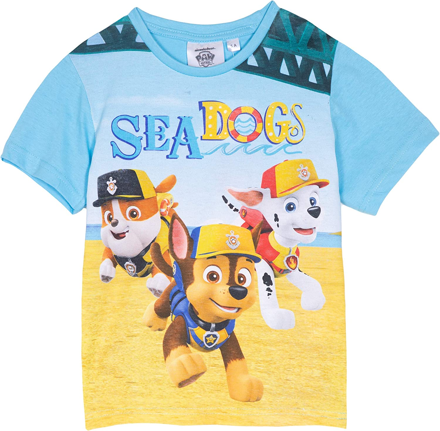 Paw Patrol Boys T-Shirt Short Sleeve Tops 100/% Cotton Stripes Pattern or Sea Patrol with Marshall Chase Rubble Characters Picture 2-6 Years