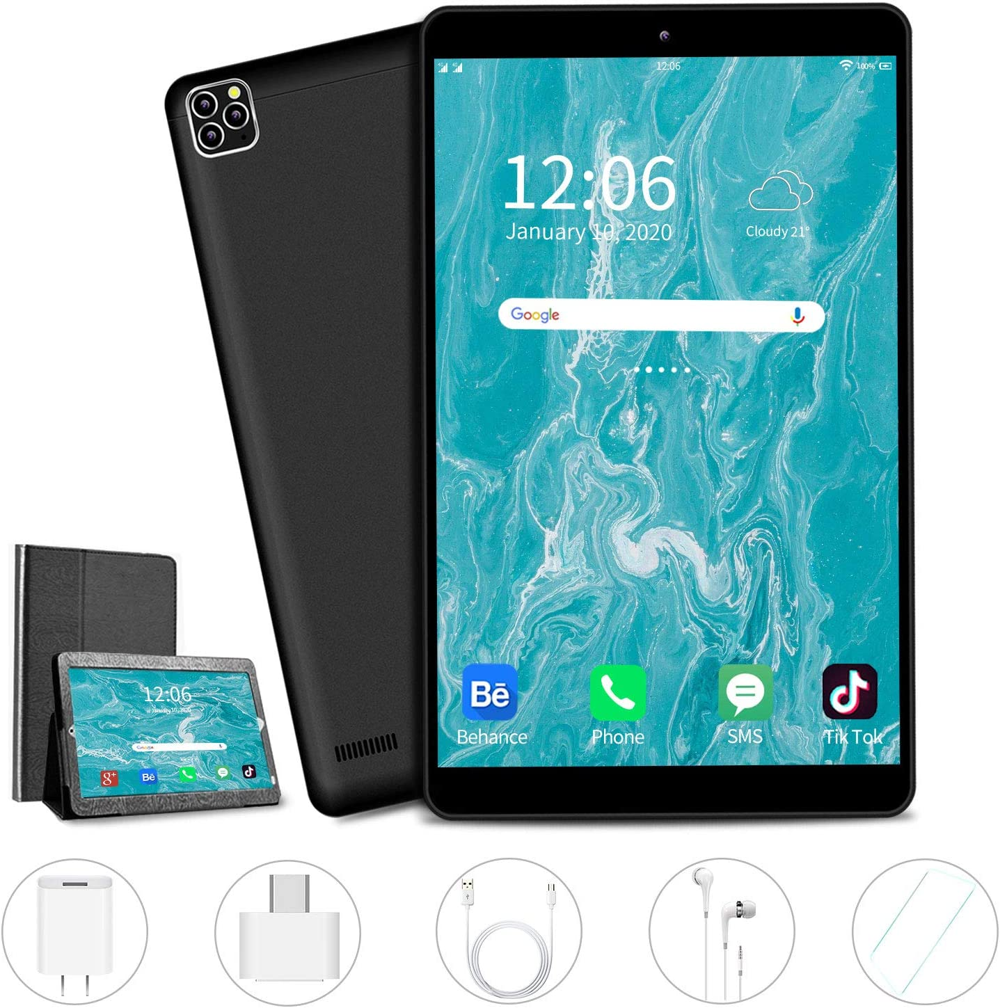 AOYODKG Tablet, 10 inch Android Tablet with 32 GB/128GB, Dual 4G SIM, 8000mAh Battery, Quad Core 3GB RAM, Bluetooth, WiFi, Android 9.0 Pie Tablet(2020 Latest)