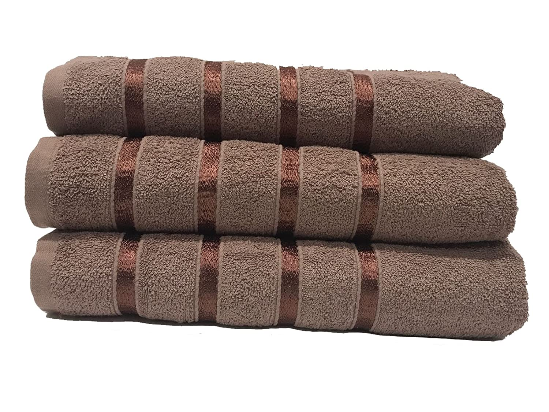 3PCS Boston Bath Sheet Towel Bale Set Soft Luxury Satin Stripe Towel Extra Absorbent(Mocha) GC