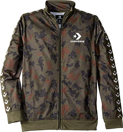 92a335969699 Converse Kids Boy s Printed Tricot Track Jacket (Big Kids) Heritage Camo  Small