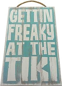 Gettin Freaky at The Tiki Vintage Wood Sign for Tiki Bar Wall Decor Or Gift - Perfect Tiki BAR Decor!
